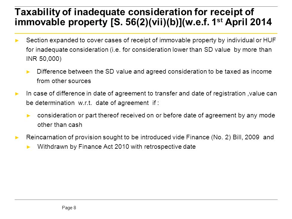 Taxability of inadequate consideration for receipt of immovable property [S. 56(2)(vii)(b)](w.e.f. 1st April 2014)